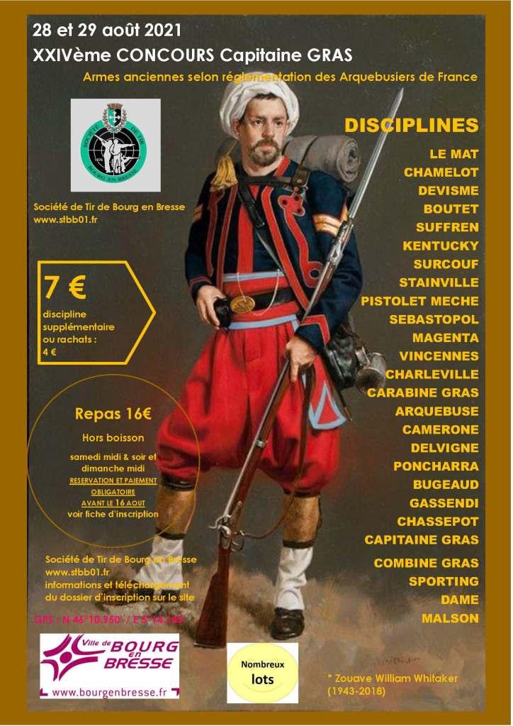 24ème concours Capitaine GRAS en Armes Anciennes; 28 et 29 août 2021